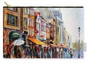 Amsterdam Rain - Palette Knife Oil Painting On Canvas By Leonid Afremov Carry-all Pouch