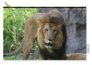An Amazing Look At A Prowling Lion Standing In Grass Carry-all Pouch