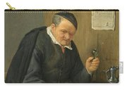 An Elderly Man Seated Holding A Wineglass Carry-all Pouch