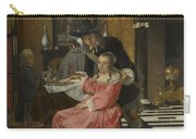 An Interior With A Woman Refusing A Glass Of Wine Carry-all Pouch
