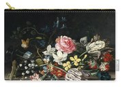 An Overturned Vase Of Flowers Resting On A Ledge Carry-all Pouch
