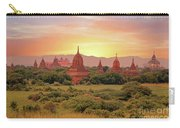 Ancient Pagodas In The Countryside From Bagan In Myanmar At Suns Carry-all Pouch