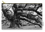Angel Oak Tree 2009 Black And White Carry-all Pouch by Louis Dallara