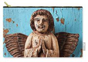 Angel On Blue Wooden Wall Carry-all Pouch