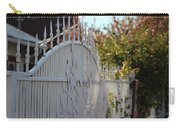 Angled Closeup Of White Washed Iron Gate To Garden Carry-all Pouch