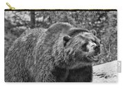 Angry Bear Black And White Carry-all Pouch