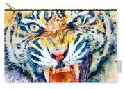 Angry Tiger Watercolor Close-up Carry-all Pouch