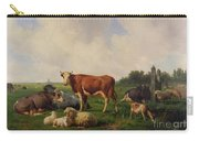 Animals Grazing In A Meadow  Carry-all Pouch by Hendrikus van de Sende Baachyssun