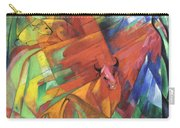 Animals In Landscape Red And Yellow Bulls Resting Carry-all Pouch