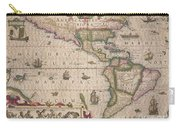 Antique Map Of America Carry-all Pouch by Jodocus Hondius