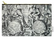 Antique Illustration Of The Eastern And Western Hemispheres - Antique Globe - Old Atlas Title Page Carry-all Pouch