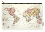 Antique Maps - Old Cartographic Maps - Antique Map Of The Eastern And Western Hemisphere, 1850 Carry-all Pouch
