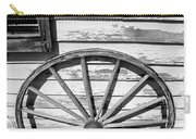 Antique Wagon Wheel In Black And White Carry-all Pouch