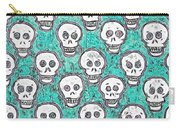 Aqua Skull Pattern Carry-all Pouch