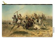 Arab Horsemen On The Attack Carry-all Pouch by Adolf Schreyer