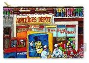 Arachides Depot Candy Shop Painting Rue De L'eglise Verdun Montreal Hockey Art Carole Spandau        Carry-all Pouch