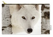 Arctic Wolf Seen Between Two Trees In Winter Carry-all Pouch