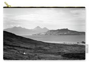 Ardnamurchan Landscape Toward The Islands Of Eigg And Rhum.    Black And White Carry-all Pouch