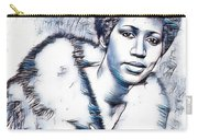 Aretha Franklin Portrait In Blue Carry-all Pouch