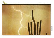 Arizona Saguaro Lightning Strike Poster Print Carry-all Pouch