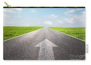 Arrow Sign Pointing Forward On Long Empty Straight Road Carry-all Pouch