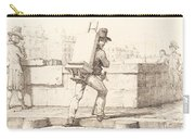 Artist Carrying Easel With A Lithographic Stone Carry-all Pouch
