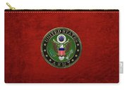 U. S.  Army Emblem Over Red Velvet Carry-all Pouch