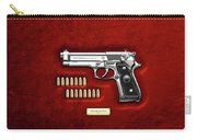 Beretta 92fs Inox With Ammo On Red Velvet  Carry-all Pouch