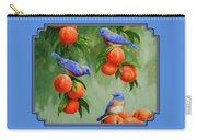 Bird Painting - Bluebirds And Peaches Carry-all Pouch by Crista Forest