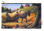 Raking Hay Field Rustic Country Farm Folk Art Landscape Carry-all Pouch