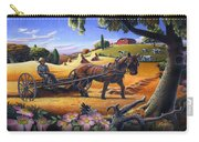 Raking Hay Field Rustic Country Farm Folk Art Landscape Carry-all Pouch
