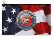 U. S. Marine Corps - U S M C Seal Over American Flag. Carry-all Pouch