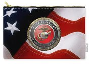 U S M C Emblem Over American Flag Carry-all Pouch