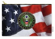 U. S. Army Emblem Over American Flag. Carry-all Pouch