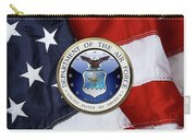 U. S.  Air Force  -  U S A F Emblem Over American Flag Carry-all Pouch