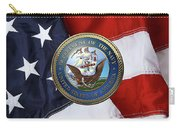 U. S.  Navy  -  U S N Emblem Over American Flag Carry-all Pouch