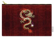 Golden Chinese Dragon Fucanglong On Red Silk Carry-all Pouch