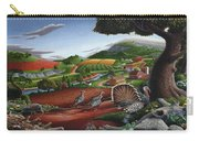 Wild Turkeys In The Hills Country Landscape - Square Format Carry-all Pouch