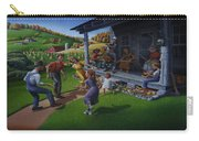 Porch Music And Flatfoot Dancing - Mountain Music - Farm Folk Art Landscape - Square Format Carry-all Pouch