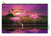 Flamingoes Flamingos Tropical Sunset Landscape Florida Everglades Large Hot Pink Purple Print Carry-all Pouch