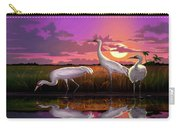 Whooping Cranes Tropical Florida Everglades Sunset Birds Landscape Scene Purple Pink Print Carry-all Pouch