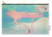 abstract Pink Flamingos retro pop art nouveau tropical bird 80s 1980s florida painting print Carry-all Pouch