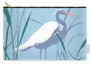 abstract Egret graphic pop art nouveau 1980s stylized retro tropical florida bird print blue gray  Carry-all Pouch