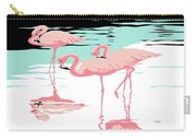 Pink Flamingos Tropical 1980s Abstract Pop Art Nouveau Graphic Art Retro Stylized Florida Print Carry-all Pouch