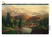Indian Village Trapper Western Mountain Landscape Oil Painting - Native Americans -square Format Carry-all Pouch