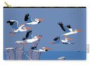 abstract Pelicans seascape tropical pop art nouveau 1980s florida birds large retro painting  Carry-all Pouch