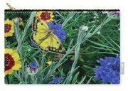 Butterfly And Wildflowers Spring Floral Garden Floral In Green And Yellow - Square Format Image Carry-all Pouch