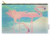 Square Format - Pink Flamingos Retro Pop Art Nouveau Tropical Bird 80s 1980s Florida Painting Print Carry-all Pouch