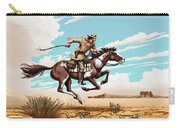 Pony Express Rider Historical Americana Painting Desert Scene Carry-all Pouch
