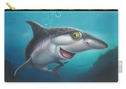 friendly Shark Cartoony cartoon under sea ocean underwater scene art print blue grey  Carry-all Pouch